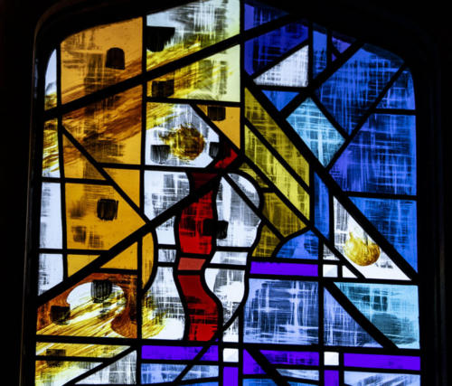 """""""The Creation Window: Let There Be Light"""" now installed at Yorkminster Park Baptist Church 2019, created by artists Kathryn Irwin and Jane Irwin."""