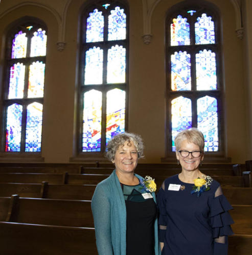 """Dedication of the new """"Creation Window: Let There Be Light"""" at Yorkminster Park Baptist Church"""" with the artists and donor family."""