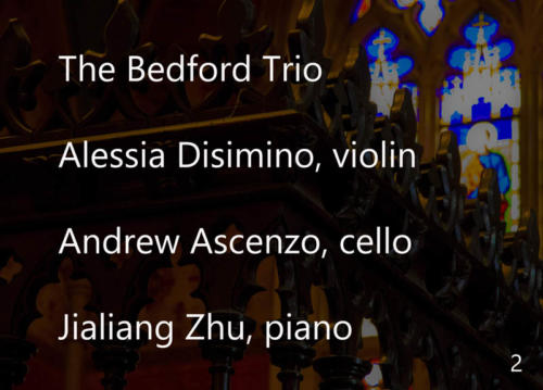 Music Mondays, August 20, 2018. The Church of the Holy Trinity, Toronto. Bedford Trio Aug 20