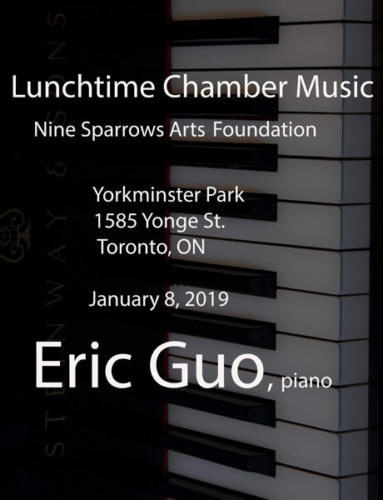 Lunchtime Chamber Music at Yorkminster Park, by Nine Sparrows Arts Foundation with Eric Guo, piano. January 8, 2019
