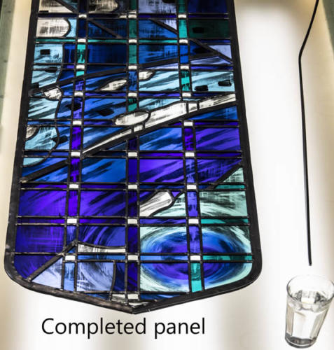 6. New The Creation Window Yorkminster Park Baptist Church_ assembly and leading of glass pieces.